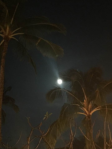 Full moon over the Westin in Princeville